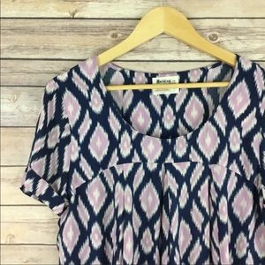 Anthropologie Holding Horses Ikat Print Tunic Top